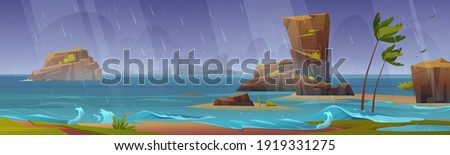tropical storm on ocean beach