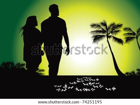 tropical stroll on beach vector - stock vector