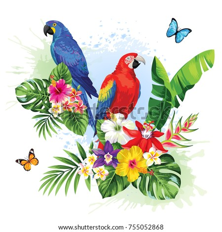 Tropical summer arrangement with  parrots, palm leaves and exotic flowers. Vector illustration.