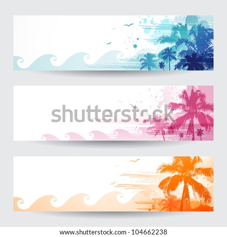 tropical summer banners design