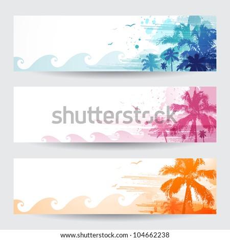 Tropical summer banners design