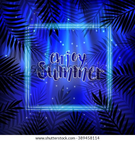 Tropical Summer Night Background. Palm leaves.  #389458114