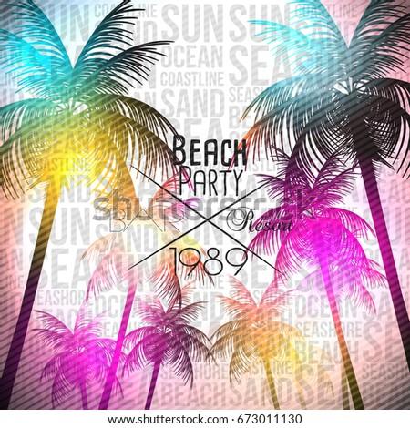 Tropical Summer PrintFlyer with Beach Scene  - Vector Illustration