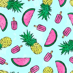 Tropical summer print for t-shirt, apparel, textile or wrapping. Pattern with melons, pineapples and popsicles in various colors. Vector is seamless and repeatable, painted effect is easily removed.