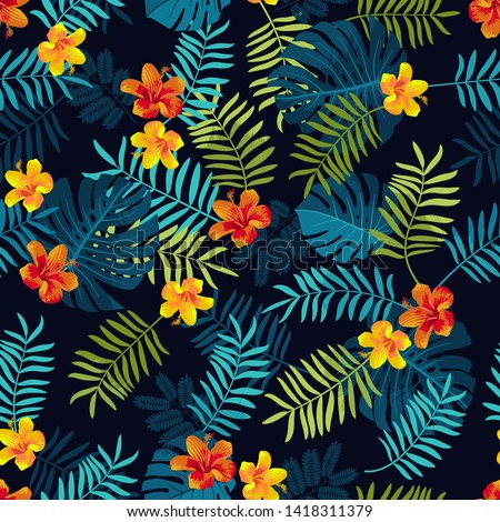 Tropical Summer seamless pattern. Monstera leaves, hibiscus flowers. Bright jungle seamless backdrop. Vivid optimistic juicy colors. Repeat pattern backdrop. Seamless artistic tropical background