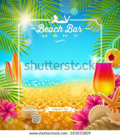 Stock Photo Tropical summer vacation - Beach bar menu vector design
