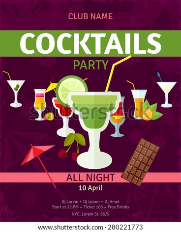 Tropical summer vacation holidays night club entertainment cocktail party announcement poster with dark background abstract vector illustration