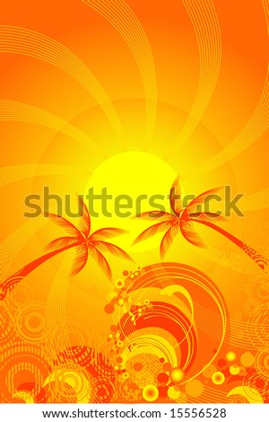 tropical sun and ocean vector