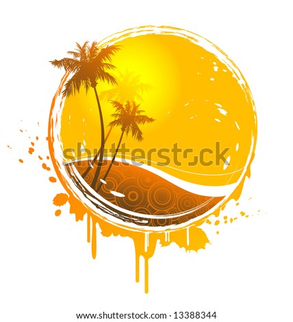 tropical sun-splash - stock vector