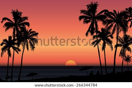 tropical sunrise at seashore
