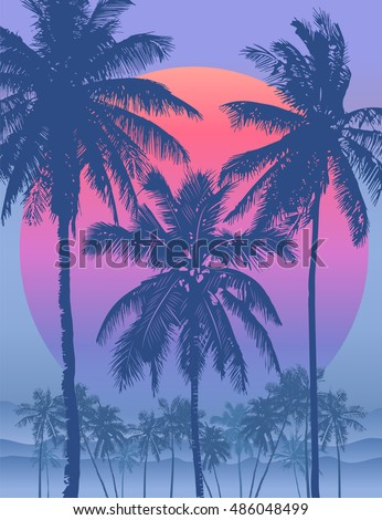 tropical sunrise with pink