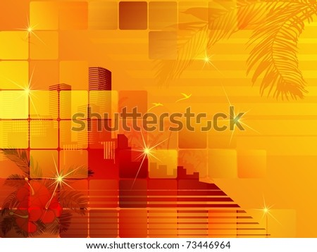tropical sunset cityscape