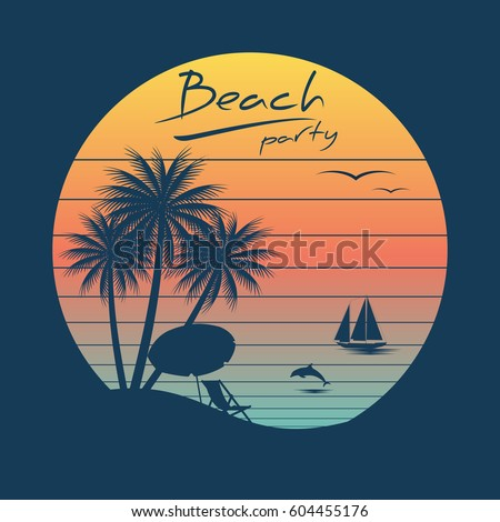 tropical sunset surf and beach