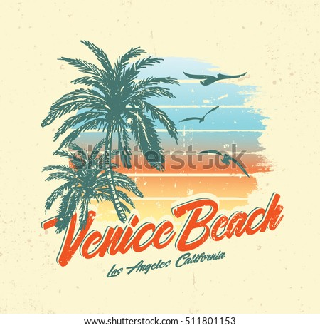 tropical sunset. surf and beach. vintage beach print. tee graphic design