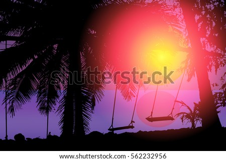 tropical sunset view with palm