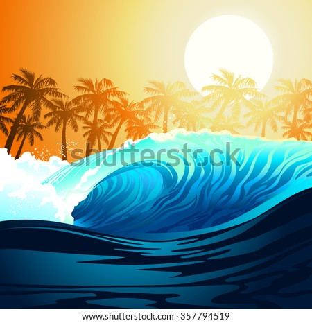 tropical surfing wave at