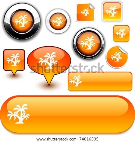 tropical vector glossy icons