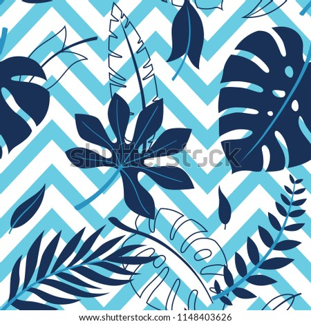 Tropical vector green leaves seamless pattern. Exotic wallpaper. Summer design.