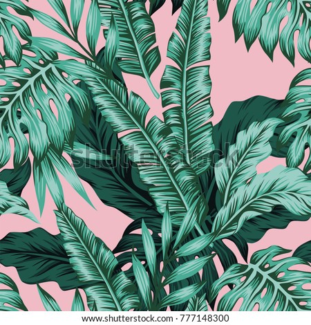 Tropical vector green leaves seamless pattern pink background. Exotic wallpaper