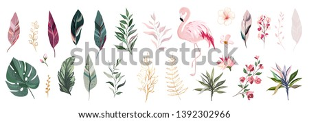 tropical vector leaf with gold
