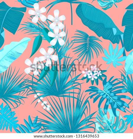 Tropical vector turquoise seamless pattern on Living Coral color background. Main trend concept. Botany design, jungle leaves of palm tree and flowers.