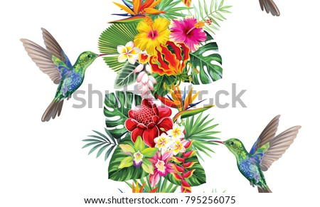 Tropical vertical border with palm leaves, exotic flowers and hummingbirds on a white background. Vector illustration.