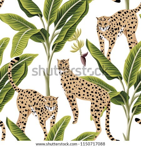 Tropical vintage banana trees and cheetah floral seamless pattern white background. Exotic jungle wallpaper.