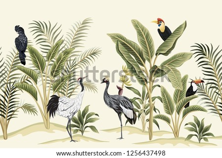Tropical vintage bird, parrot, crane,  toucan, palm tree, banana tree and plant floral seamless border ivory background. Exotic jungle wallpaper.