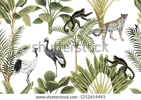 Tropical vintage botanical green palm tree, banana tree, crane, monkey and leopard floral seamless pattern white background. Exotic jungle wallpaper.