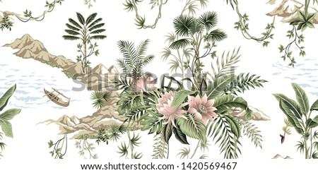 Tropical vintage botanical island, palm tree, mountain, sea wave,boat, palm leaves, liana, lotus flower summer floral seamless pattern white background.Exotic jungle wallpaper.