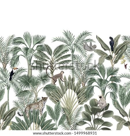 Tropical vintage botanical landscape, palm tree, banana tree, plant, sloth, monkey, leopard, black parrot, toucan floral seamless border white background. Exotic green jungle animal wallpaper.