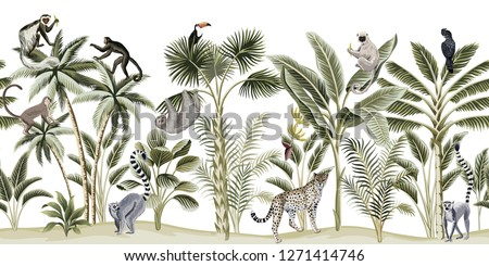 Tropical vintage botanical landscape, palm tree, banana tree, plant, sloth, monkey, leopard, lemur, parrot, toucan floral seamless pattern white background. Exotic green jungle animal wallpaper.