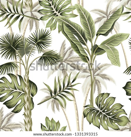 Tropical vintage botanical landscape, palm tree, palm leaves floral seamless pattern white background. Exotic jungle wallpaper. #1331393315