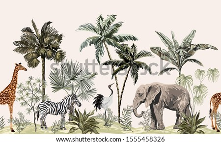 Tropical vintage botanical landscape, palm tree, plant, palm leaves, sloth, giraffe, elephant, crane, zebra.  Seamless floral border. Jungle animal wallpaper.