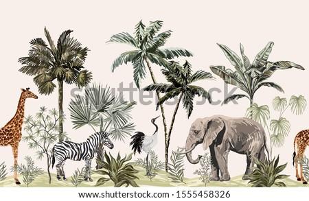 Tropical vintage botanical landscape, palm tree, plant, palm leaves, sloth, giraffe, elephant, crane, zebra.  Seamless floral border. Jungle animal wallpaper.