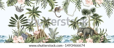Tropical vintage botanical landscape, palm tree, plant, palm leaves, sloth, monkey, elephant wild animal, mountain island, sea waves floral seamless border blue background. Jungle animal wallpaper.