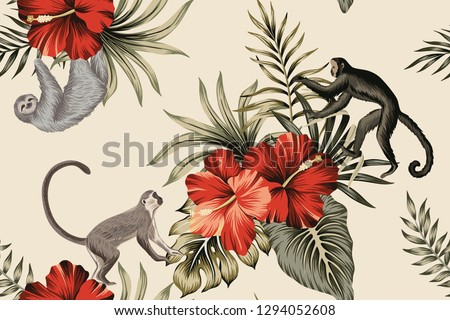Tropical vintage botanical palm leaves, monkey, red hibiscus floral seamless pattern ivory background. Exotic jungle animal wallpaper.