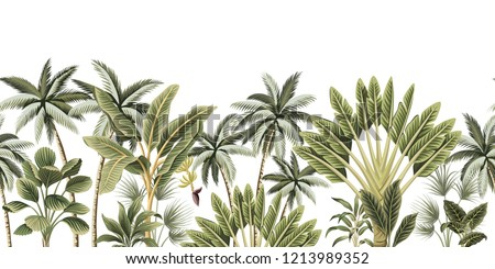 Tropical vintage botanical palm trees, banana tree floral seamless border white background. Exotic jungle wallpaper.
