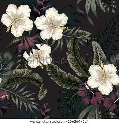 Tropical vintage dark, white hibiscus flower, palm leaves floral seamless pattern black background. Exotic jungle wallpaper.