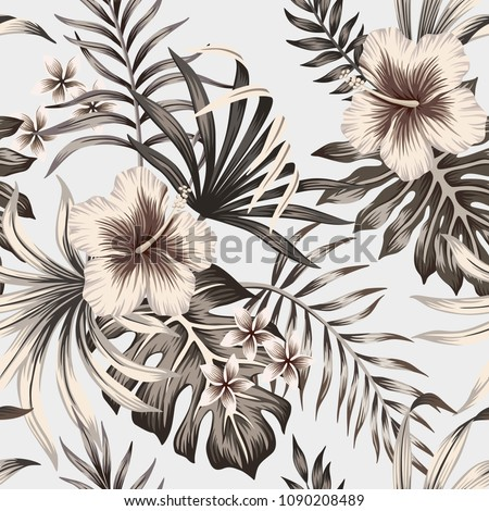 Tropical vintage graphic hibiscus plumeria floral palm leaves seamless pattern background. Exotic wallpaper