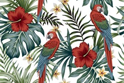 Tropical vintage macaw parrot, hibiscus flower, palm leaves floral seamless pattern white background. Exotic jungle wallpaper.