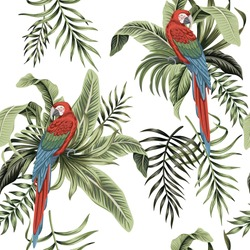 Tropical vintage macaw parrot, palm leaves, banana leaves floral seamless pattern white background. Exotic jungle wallpaper.