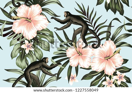 Tropical vintage monkey, peach hibiscus flower, palm trees floral seamless pattern blue background. Exotic jungle wallpaper.