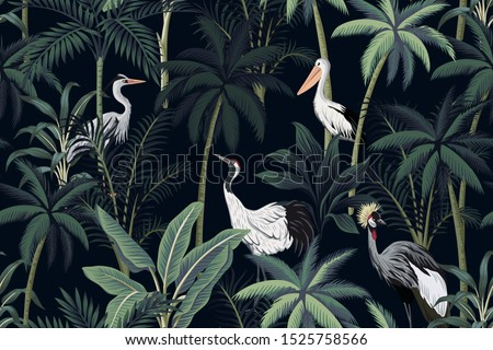 Tropical vintage night landscape, dark palm trees, plant, birds floral seamless pattern black background. Exotic jungle wallpaper. stock photo