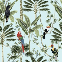 Tropical vintage palm trees, liana, macaw parrot, toucan bird floral seamless pattern  blue background. Exotic jungle wallpaper.