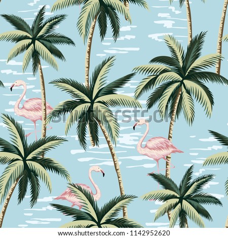 Tropical vintage pink flamingo and palm trees floral seamless pattern blue background. Exotic jungle wallpaper.