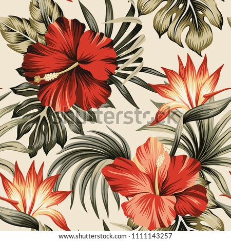 Tropical vintage red hibiscus and strelitzia floral green palm leaves seamless pattern beige background. Exotic jungle wallpaper.