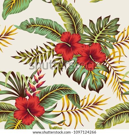 tropical vintage red hibiscus
