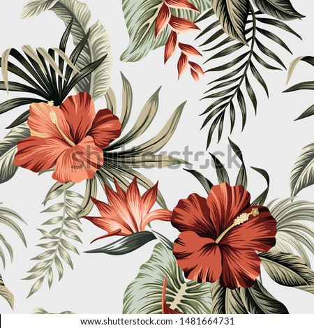 Tropical vintage red hibiscus flower, palm leaves floral seamless pattern grey background. Exotic jungle wallpaper.