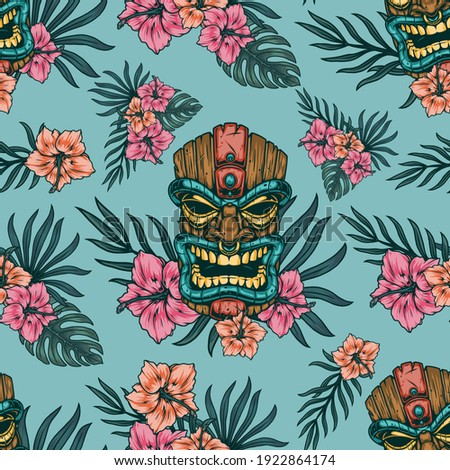 Tropical vintage seamless pattern with polynesian tiki mask hibiscus flowers and exotic leaves vector illustration
